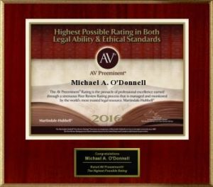 Picture of Michael A. O'Donnell's 2016 AV Preeminent Award