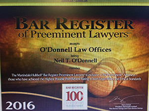 Picture of Neil O'Donnell's Bar Register of Preeminent Lawyers award