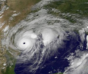 Picture of Hurricane Harvey hitting Texas in late 2017.