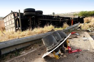Picture of rollover truck accident