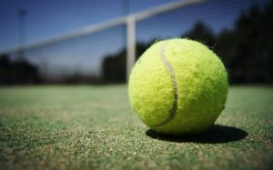 Picture of close up of tennis ball on a tennis court