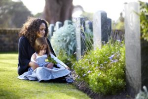 Picture of a little girl sitting on her mother's lap while visiting a grave